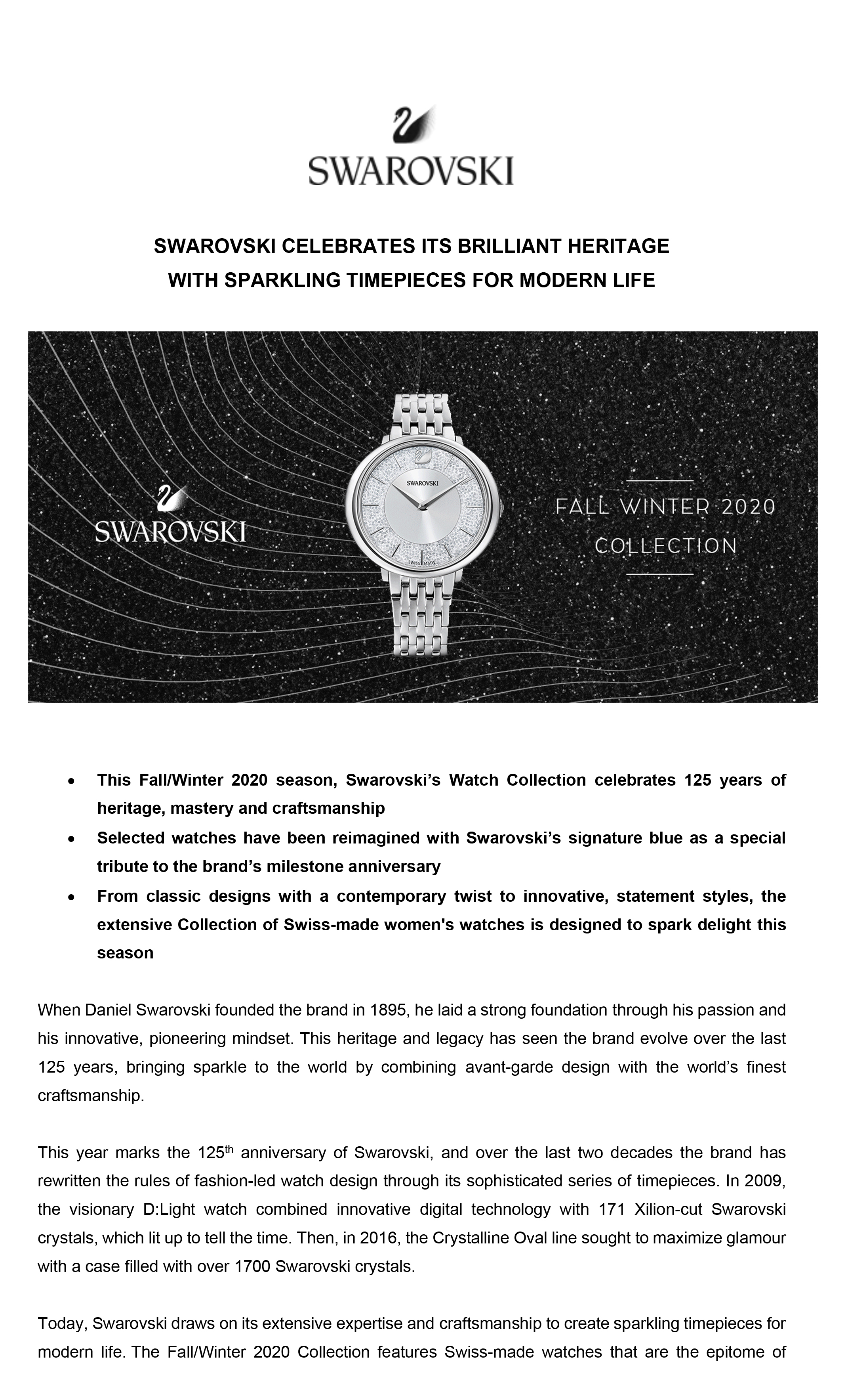 pubertad télex becerro  SWAROVSKI CELEBRATES ITS BRILLIANT HERITAGE WITH SPARKLING TIMEPIECES FOR  MODERN LIFE | Peepul PR